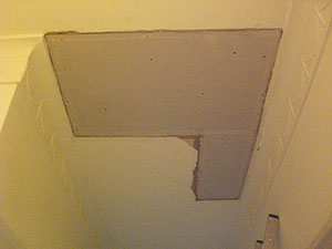 The Notting Hill W11 Plasterer - plasterboarded ceiling ready for plaster repair