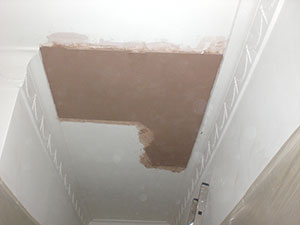 The Notting Hill W11 Plasterer - recently plastered ceiling as part of a ceiling plaster repair